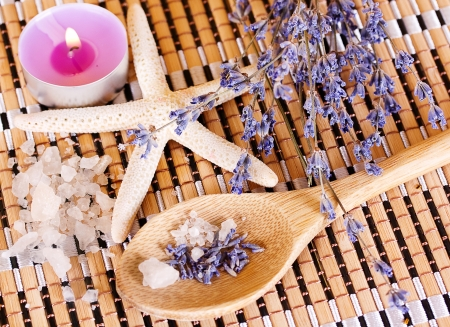 SPA composition with bottle of lavender oil. photo