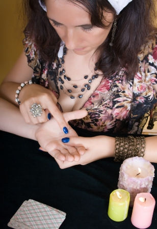 Gypsy woman palmistry reading the future