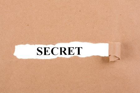 insightful: word Secret appearing behind torn brown paper. Stock Photo