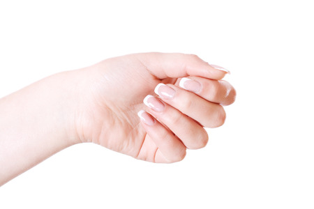 nailcare: Woman hand with red decorated nails. Isolated on white. Stock Photo