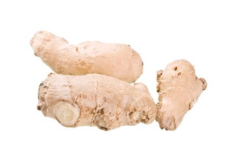 boehm: Fresh ginger root on white background.