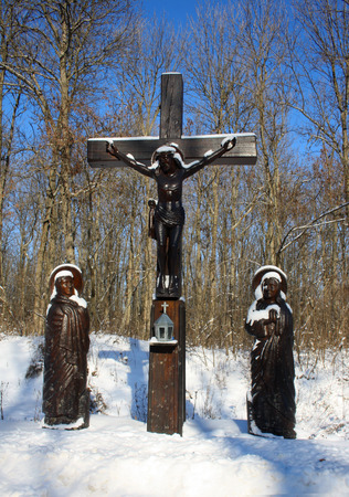 curse: Crucifixion opposite the road leading to the monastery in the village Tiganesti the Republic of Moldova Stock Photo