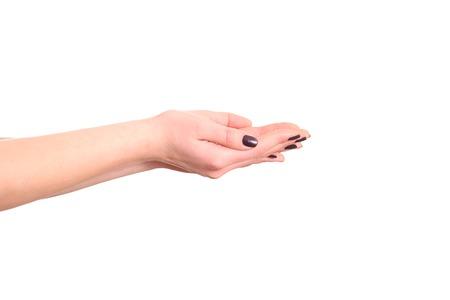 comunicacion no verbal: las manos abiertas de la mujer en un fondo blanco.