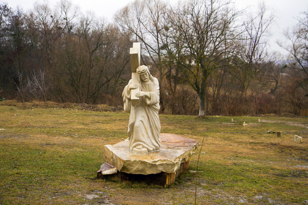 carrying the cross: Sculpture of Jesus Christ carrying the cross in the monastery Condrita Moldova