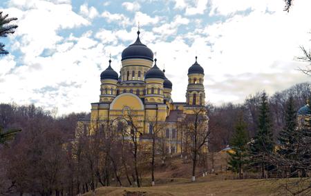 famous industries: Beautiful building Orthodox monastery Hincu,Moldova.