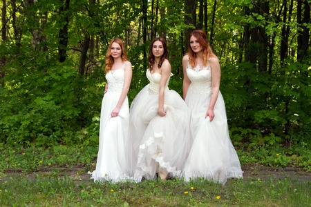 eyes hazel: Three beautiful and happy bride on the forest edge