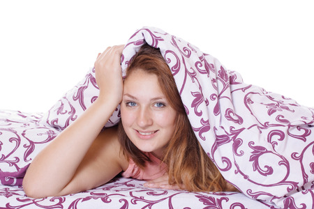 Morning awakening, beautiful woman smiling at the new day Stock Photo