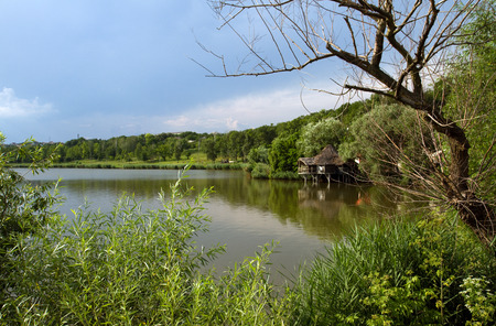 Nature in Moldova in summer lake and blue sky