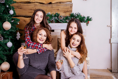 Sisters girls having fun on Christmas and New Year holiday photo