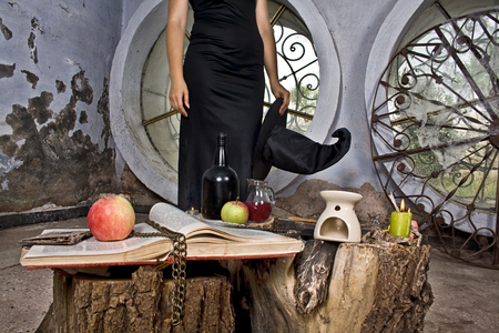 Witch prepared attributes for her witchcraft photo