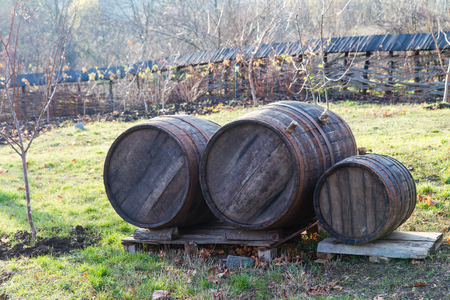 Wooden barrels with wine, outdoors Stock Photo