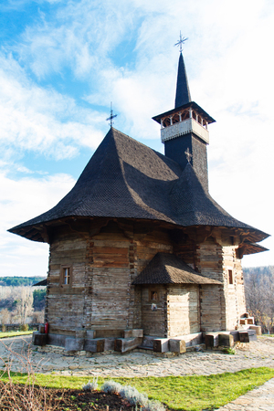 THE WOODEN CHURCH OF WOOD historical monument, sec. XVII Фото со стока - 93773088