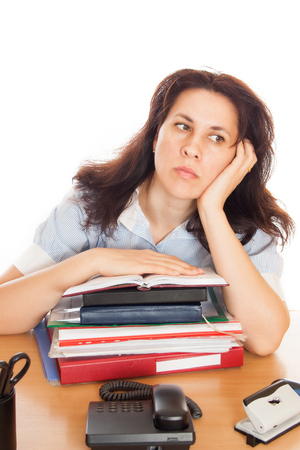 Huge pile of document folders headache and depression irs new problems emotion expression vacancy or holiday dream concept