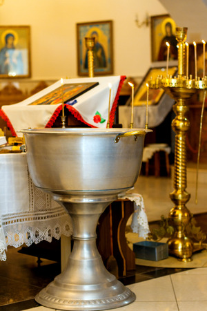 Accessories for Christening. Interior Of Orthodox Church In Easter. baby christening. Ceremony a in Christian Stock Photo