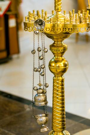 Orthodox censer for religious ceremonies close-up, Moldova