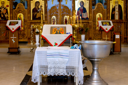Interior of the Orthodox Church in Molavian in Chisinau Editorial