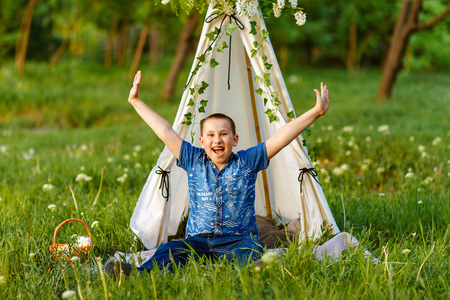 Child, freedom, breathing fresh air in nature Stock Photo