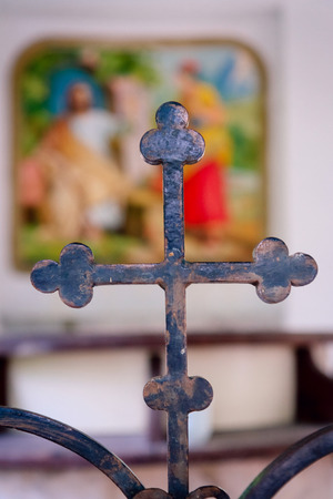 Iron cross on the background of the icon