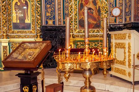 Interior of the Orthodox Church in Molavian in Chisinau Stock Photo