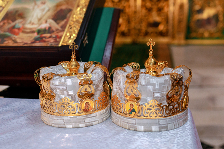 Two crowns the weddings intended for ceremony in orthodox church Stock Photo