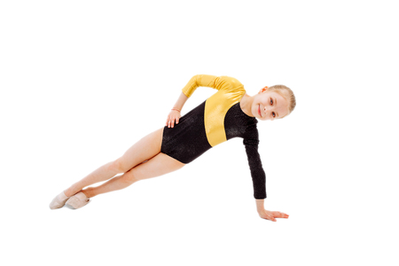 Sport exercise isolated gymnast girl on white background 写真素材
