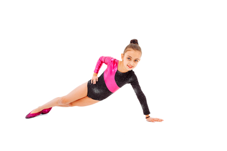 Sport exercise isolated gymnast girl on white background 写真素材 - 119620726
