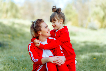 Happy mother and daughter with embracing, close up portrait. 写真素材 - 123238414