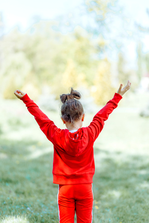 Child, kid, joy, faith, praise and happiness and freedom 写真素材 - 123239682