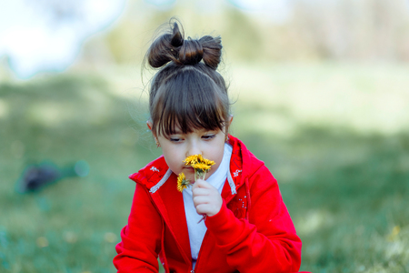 Little girl sniffs wildflowers on a meadow, walking outdoor. Cute child and summer flowers, wildflowers beauty