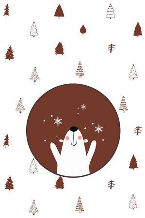 cute bear card winter fairy tale cloud card snowing snow x-mas holidays