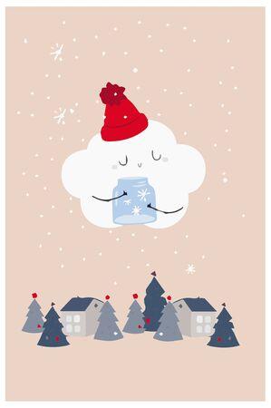 winter fairy tale cloud card snowing snow x-mas holidays