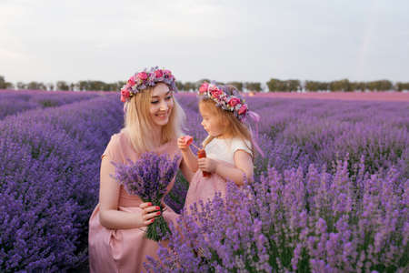 Mom and daughter blow soap bubbles in a lavender field 写真素材