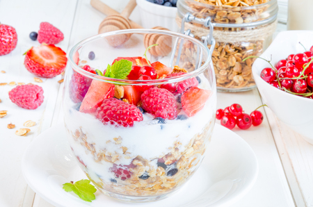 Granola with yogurt and berries