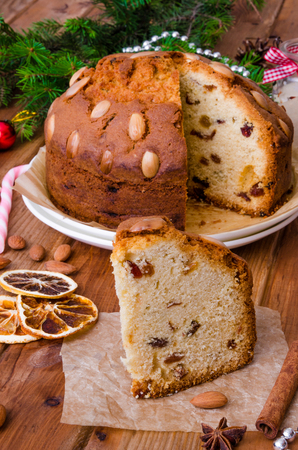 Christmas fruit cake with dried fruit and almonds. Dundee cake.