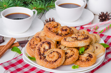 Homemade cookies with walnuts, chocolate and cinnamon for Christmas or New Year