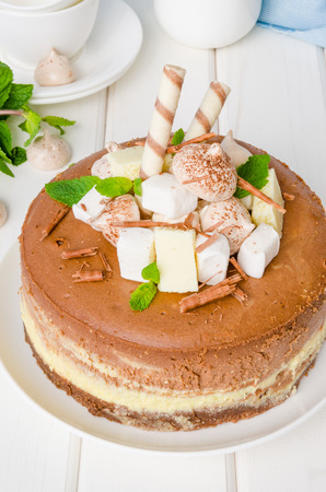 Marble chocolate coffee cheesecake with meringue, marshmallow and chocolate on top Imagens - 102873745
