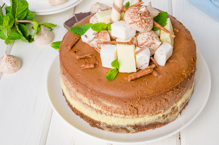 Marble chocolate coffee cheesecake with meringue, marshmallow and chocolate on top Imagens - 102873752