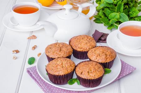 Muffins with pumpkin, walnuts, dark chocolate and wheat bran Stok Fotoğraf