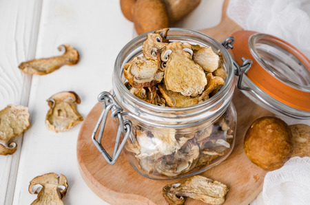 Dried forest mushrooms in a glass jar