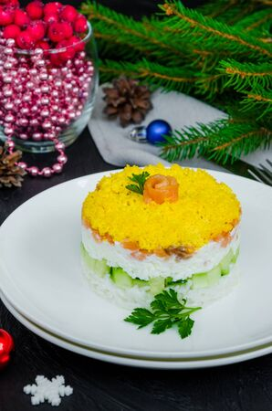 Salad with salted salmon (red fish), fresh cucumbers, rice and eggs on a white plate for Christmas and New Year on a dark background. Zdjęcie Seryjne