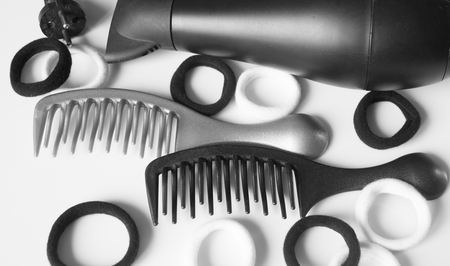 comb hair: hair care comb curler hairdressing tools Stock Photo