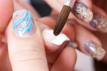 Correction of nails using acrylic . French manicure Banco de Imagens