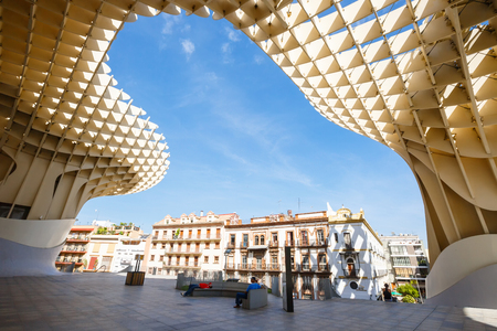 metropol parasol: Sevilla, SPAIN - September 10, 2015:  Metropol Parasol in Plaza de la Encarnacion on MAY 02, 2013 in Sevilla, Spain. J. Mayer H. architects, it is made from bonded timber with a polyurethane coating.