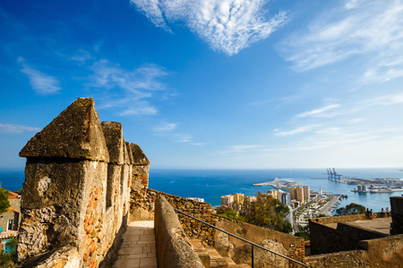 Walls of courtyard of Castillo de Gibralfaro, Costa del Sol, Andalusia, Spain