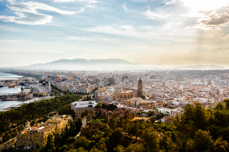 incarnation: View of the Santa Iglesia Cathedral Basilica of Lady of Incarnation, port and cityscape of Malaga, Spain