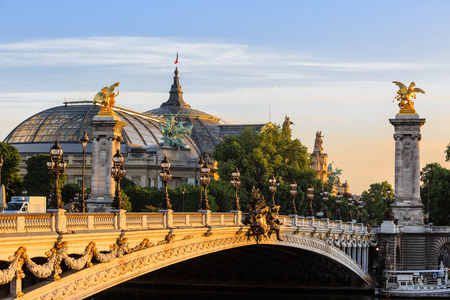Paris, France - May 18, 2015: Alexander III bridge  over the Seine in Paris between des Invalides and the Champs Elysees. View to Grand Palais 報道画像