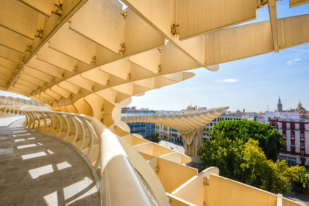 eggtray: Sevilla, SPAIN - September 10, 2015:  Metropol Parasol in Plaza de la Encarnacion, Spain. J. Mayer H. architects, it is made from bonded timber with a polyurethane coating