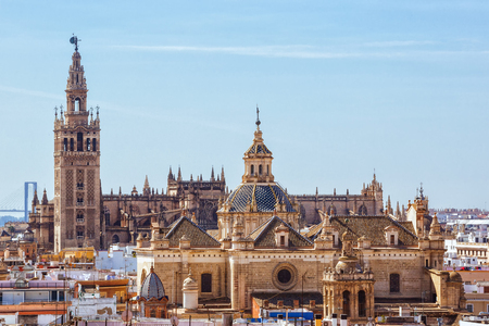 metropol parasol: Sevilla, SPAIN - September 10, 2015:  Tower Giralda, Cathedral of Saint Mary of the See from Metropol Parasol high, Sevilla, Andalusia