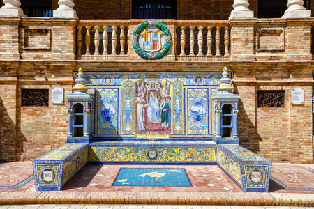 episode: Ceramic bench on the Plaza de Espana in Sevilla, with a historic episode of Balearic Islands. Was built in 1929 for Ibero-American exhibition. Andalusia, Spain.