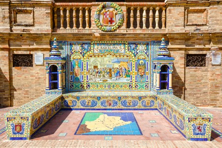 depiction: Ceramic bench on the Plaza de Espana in Sevilla, with a historic depiction of Barcelona. Was built in 1929 for Ibero-American exhibition. Andalusia, Spain.